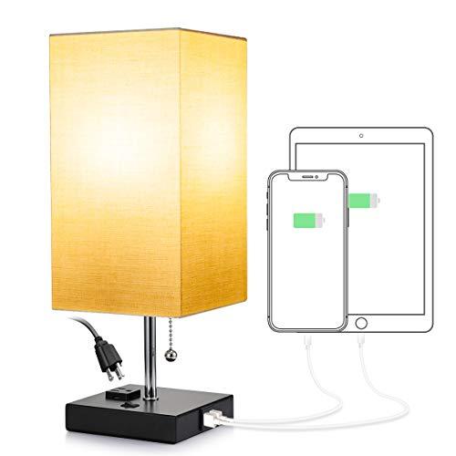 Consciot - Lámpara de mesita de noche con 2 puertos de carga USB y una toma de corriente, lámpara de computadora con cadena para recámara, habitación de invitados, oficina...
