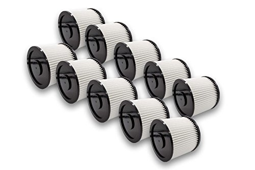 vhbw Set de filtros 10x Filtro plisado compatible con Parkside PWDA 20 aspiradora en seco y mojado - Filtro, cartucho - blanco