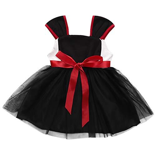 Tianhaik 1-5T Kleinkind Mädchen Tutu Prinzessin Ballkleid Hochzeitsparty Kleider Reisen Lässig Formelle Partykleidung (Schwarz, 2-3 Jahre)