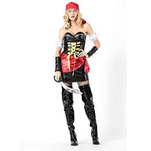 Elegantes trajes de Halloween, trajes magníficos y festivos de Halloween uniformes de gala Caribe mujer pirata de Halloween Cosplay del partido de la mascarada Disfraces de Halloween Cómodos y Llenos