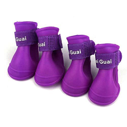 CLIN Bequeme Hundestiefel Pfotenschutz Hund Süßigkeiten Farben Stiefel Wasserdicht Gummi Haustier Regen Schuhe Stiefeletten S/M/L-Violett L