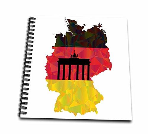 3D Rose Deutsche Germany Flagge mit Brandenburger Tor Zeichenheft