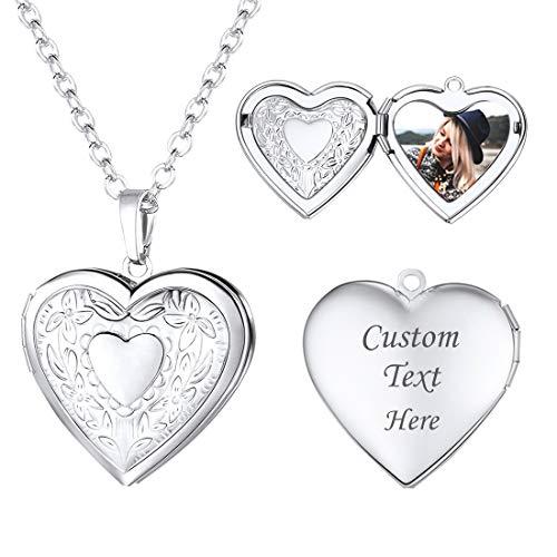 U7 Platinum Plated Charm Necklaces Heart Pendant Photo Locket Necklace for Women Girls