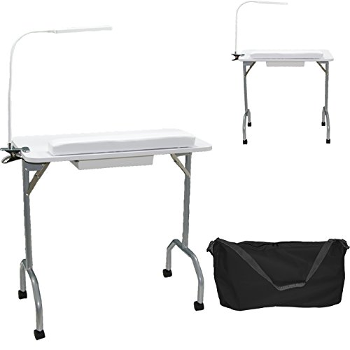 LCL Beauty White Portable Folding 1-Drawer Manicure Table with Client Wrist Pad, LED Lamp and Free Carrying Case Salon Spa Beauty Equipment