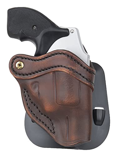 1791 Gunleather J-Frame Revolver Paddle Holster - OWB CCW Holster - Right Handed Leather Gun Holster for Belts - Fits All J-Frame Revolvers Including S&W and Ruger LCR not Taurus (Vintage Brown)