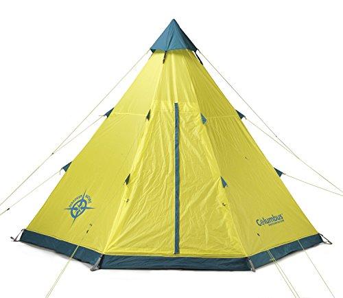 COLUMBUS Tipi Tente de Camping Mixte Adulte, Jaune/Bleu, Unique