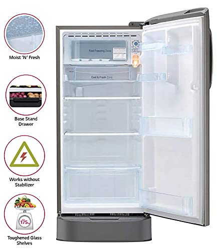 LG 190 L 5 Star Inverter Direct-Cool Single Door Refrigerator (GL-D201APZZ, Shiny Steel, Base stand with drawer) 3