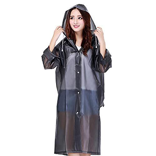 Abrigos Impermeables Trajes de Lluvia Largos con Capucha para Mujer Poncho para Acampar Mochila Parka Abrigo Chaquetas-Mochila Negra_SG