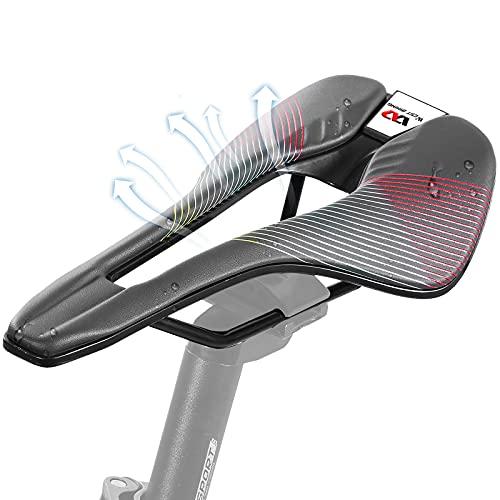 HONGYEA Sillín de bicicleta cómodo, profesional, bicicleta de carreras, bicicleta de montaña, unisex, ergonómica, ultraligero, asiento cómodo para ciclistas profesionales de carreras, color rojo