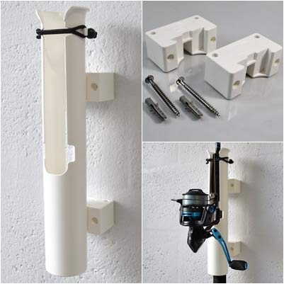 Rod-Runner Fishing Rod Holder and Mount | Uni-Mount Rod Holder Combo | White