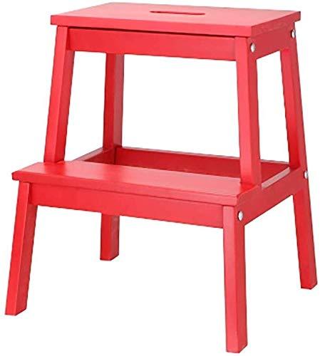 JXHOME Passo Sgabello di Legno for Bambini Tavolo da Lavoro in Legno Massiccio Sgabello Scala a pioli Mazar Sgabello Cambio di Scarpe da banco (Color : Red)