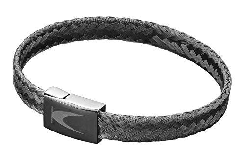 Karthe Jewels Stemond Techno Line - Pulsera para hombre y mujer, de plata 925, tejido de acero hipoalergénico, fabricada en Italia plateado y negro.