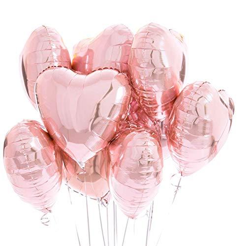 25 Palloncini Rosa Oro Dorato a Forma di Cuore ad Elio o Aria per Decorazione Romantica, San Valentino, Anniversario Matrimonio e Fidanzamento