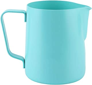 Milk Frothing Cup, 350ml Stainless Steel Milk Frothing Pitcher Coffee Cup Latte Art Milk Frother Jug (Blue)
