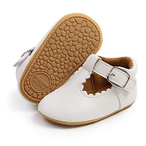Mocasines para niña con diseño de princesa brillante Mary Jane, zapatos de primera calidad, ligeros, suela suave, zapatos de cuna, a1-Blanco, 12-18 meses