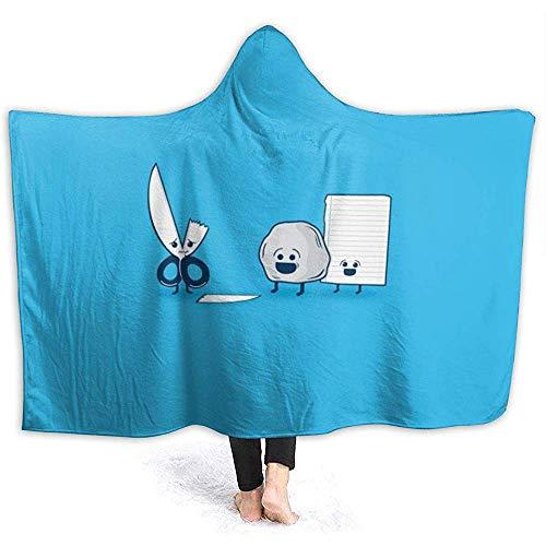 Niet toepassbare sprei super schattige grappige papieren schaar stenen kap deken sherpa-vlies draagbare warme, zachte kap deken voor volwassenen mannen vrouwen 3D print 60 x 50 inch