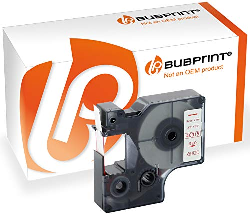 Bubprint Schriftband kompatibel für Dymo S0720700 40915 für Labelmanager 100 Plus 120P 160 210D 280 PnP Labelpoint 150 250 MobileLabeler Rot auf Weiß