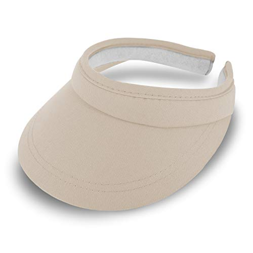 fiebig Visor | Schattenspender für das Gesicht |Clipvisor in One Size | In vielen Farben aus 100% Baumwolle | Sommerkappe mit Frotteeband Innenfutter | Sonnenschutz Schirmcap (beige)