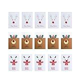 VALICLUD シックな15個のエルクパターン手作りグリーティングカードヘアボール祝福カード漫画のクリスマスカードウィッシュカード