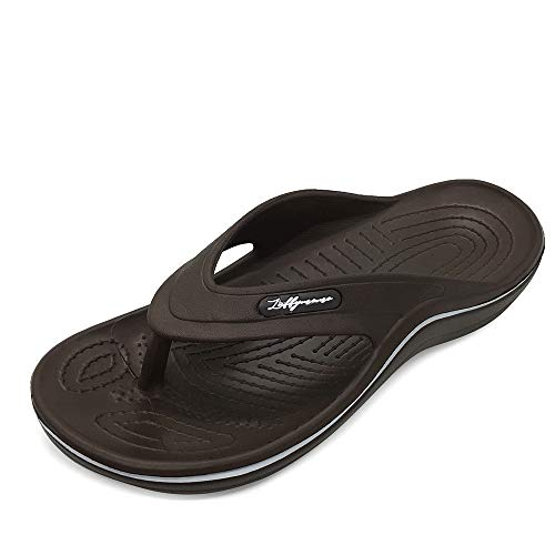 N / A HEVA Mens Arch Support Sandals Sport Comfort Flip Flop Casual Thong(11 M US Brown)