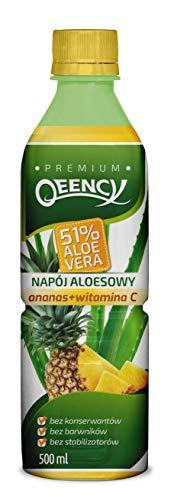 QEENCY Aloe Drink 51% Aloe Vera Ananas - 500 ml, natürlich, kalorienarm und vegan Reich an Vitamin C 24er Pack (24 x 500 ml)