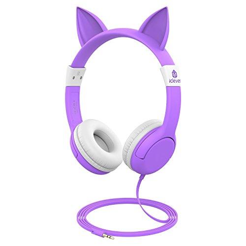 iClever BoostCare Kinder Kopfhörer, Katze Inspirierte Verdrahtete On Ear Headsets mit 85dB Volumen begrenzt, Umweltfreundliches Silikon Material, 3,5 mm Audio Jack Kabel, lila Mädchen Geschenk