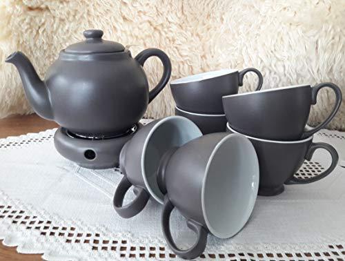 Tee-Service anthrazit dunkel-grau Geschirr Steingut Keramik