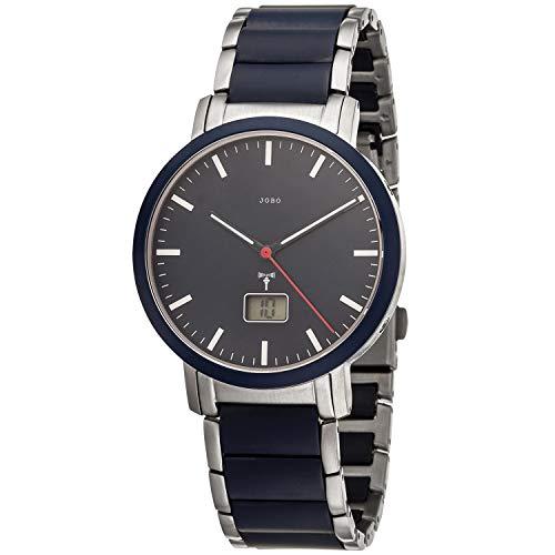 JOBO Reloj de pulsera para hombre controlado por radio, acero inoxidable, cerámica azul con