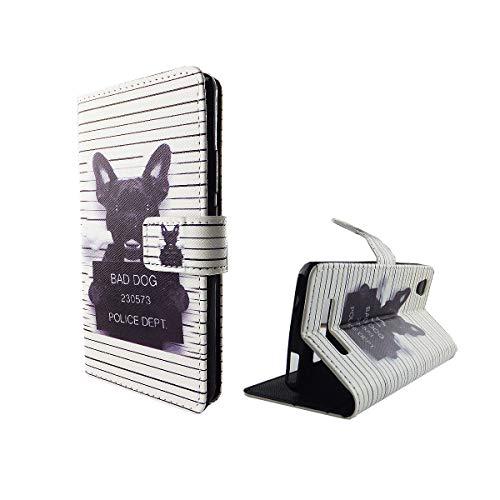König Design Handyhülle Kompatibel mit ZTE Blade A452 Handytasche Schutzhülle Tasche Flip Case mit Kreditkartenfächern - Bulldogge Weiß