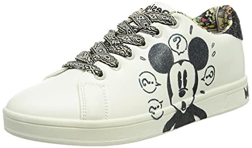 Desigual Shoes_Cosmic_Mickey Glit, Scarpe da Ginnastica Donna, Bianco, 40 EU