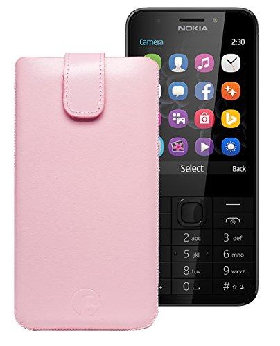 Original Favory Etui Tasche für Nokia 150 | Nokia 150 Dual-SIM Leder Etui Handytasche Ledertasche Schutzhülle Hülle Hülle Lasche mit Rückzugfunktion* in Rosa