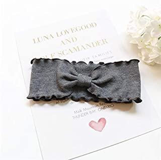 Hair band Sweet Retro Wavy Side Hair Band Knitted Bow Headband Elastic Turban Bowknotted Headwrap Hair Accessories MJZCUICAN (Color : Gray, Size : One Size)