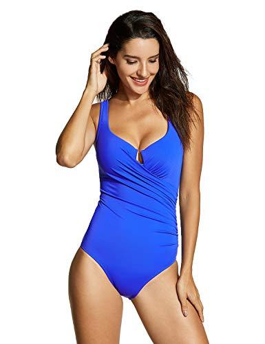 DELIMIRA Damen Badekleid Badeanzug - Slim Bademode Mit Bügel Blau 36