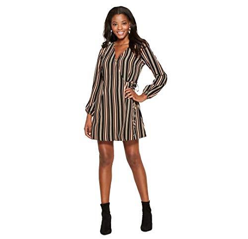 Xhilaration Women's Striped Long Sleeve Wrap Dress (Black/Coral, XL)