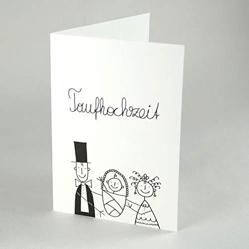 10 witzige Taufhochzeitskarten mit Strichmännchen: Braut, Bräutigam + Täufling, Klappkarten inkl. rotem Umschlag B6 - für Einladungen und Glückwünsche, Zeichnung: Franz Basdera