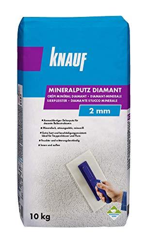 Knauf Mineralputz Diamant 2,0-mm Körnung – mineralischer Dekor-Putz, als Decken-, Wand-Belag oder Außen-Putz, kratzfest und witterungsbeständig, Weiß, 10-kg