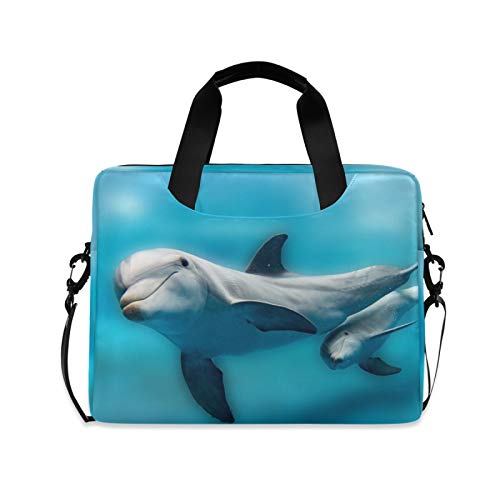 ALAZA Dolphin Sea Animal Print Blue Laptop Case Bag Sleeve Portable Crossbody Messenger Briefcase w/Strap Handle, 13 14 15.6 inch