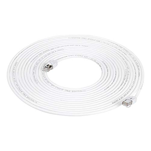 AmazonBasics RJ45 Cat 7 High-Speed Gigabit Ethernet Patch Internet Cable, 10Gbps, 600MHz - White, 50-Foot