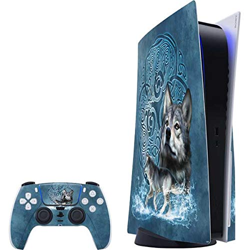 Skinit Decal Gaming Skin Compatible with PS5 Console and Controller - Tate and Co. Celtic Wolf Design