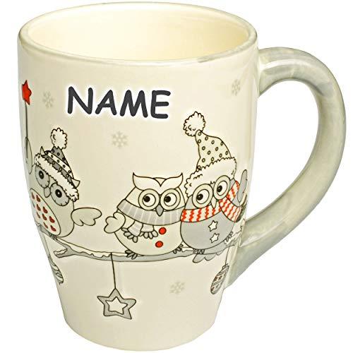 alles-meine.de GmbH 3D Effekt - Henkeltasse / Kaffeetasse - lustige Eulen im Winter - inkl. Name - groß - 300 ml - Porzellan / Keramik - weiß Teetasse - Trinktasse mit Henkel - E..