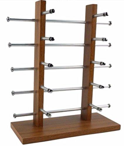 [SSKA.C]サングラス 眼鏡 スタンド ディスプレイ メガネ掛け 置き 卓上型 10本 収納 (木目調)