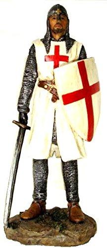 Templario Knight de pie con espada y escudo figura decorativa