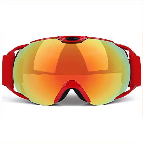 AUEDC Ski Snowboardbrillen, OTG Skibrille Anti-Fog UV-Schutz Doppel-Objektiv Sport Snowboardbrille mit Wechselobjektiv für Outdoor-Sport,Redc