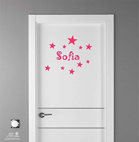 Artstickers Adhesivo Infantil para decoración de Muebles, Puertas, Paredes.Nombre: Sofia, en Color Rosa Nombre de 20cm + Kit de 10 Estrellas para Libre colocación.
