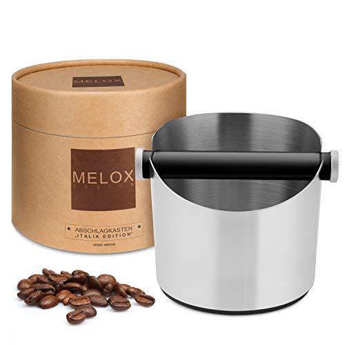 Melox Kaffeesatz Abschlagbehälter mit verbesserter Dämpfung und festem Stand I Espresso Abklopfbehälter für 15 Puks I Siebträger Coffee Knock Box