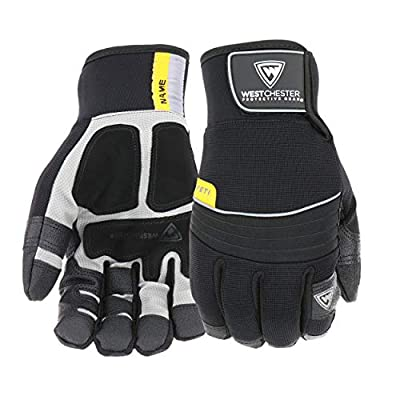 """West Chester 96650 Synthetic Leather Waterproof Winter Glove, Neoprene Wrist Hook and Loop Cuff, 10-3/8"""" Length, (Pack of 1 Pair)"""