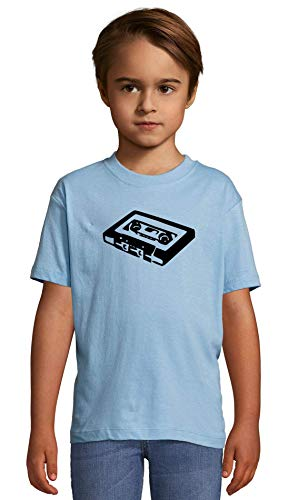Atprints Cassette Stencil Artwork Hipster Vintage Heaven Blue Crew Neck Kids T-Shirt...
