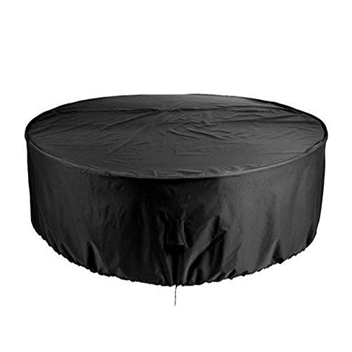 aizhinuo Garden Furniture Cover Round Garden Table Cover Waterproof 210D Heavy Duty Dining Table Chair Cover Windproof Anti-UV Black(185x110cm/230x110cm)
