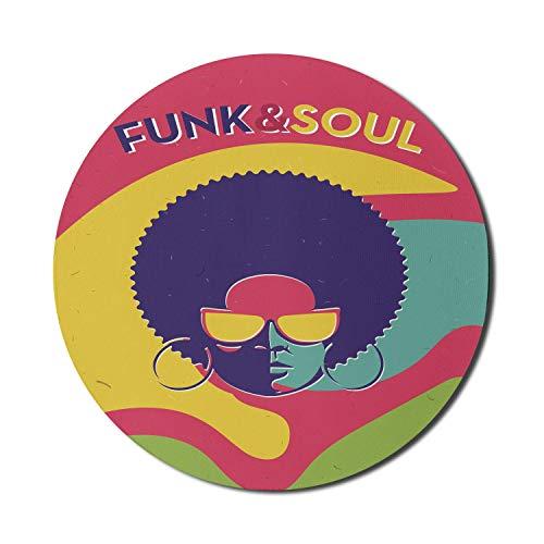 Vintage Mouse Pad für Computer, Groovy Funk und Soul Event Flyer Drucken Sie eine coole Disco Party Musik Vinyl Platten, Runde rutschfeste dicke Gummi Modern Gaming Mousepad, 8 'rund, mehrfarbig