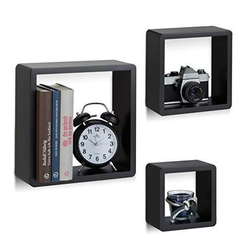 Relaxdays Wandregal Cube 3er Set, quadratische MDF Wandboards, belastbare Schweberegale für das Wohnzimmer, schwarz